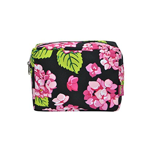 N. Gil Large Travel Cosmetic Pouch Bag 3 (Hydrangea Black) Beauty Hydrangea