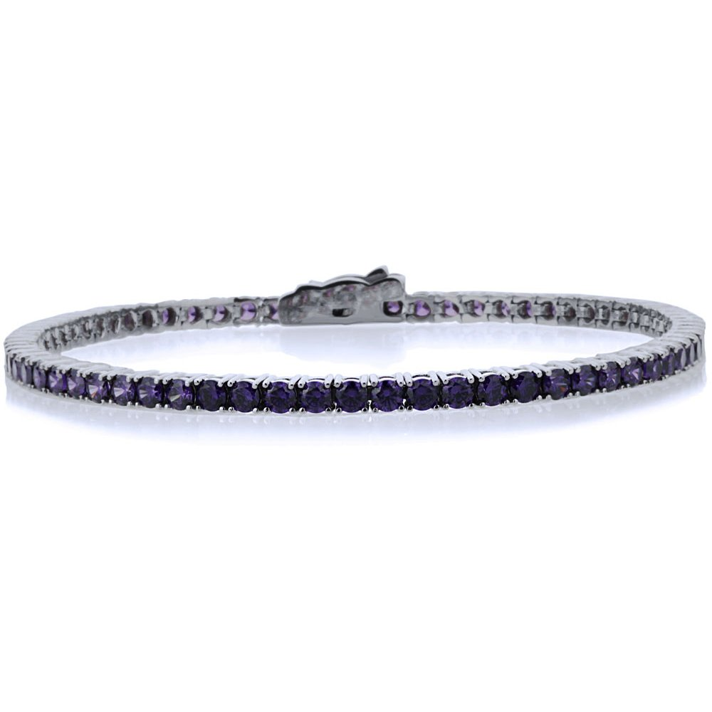 Sterling Silver Rhodium Plated 2.5mm 3.6 ct.tw Round CZ Simulated Amethyst Tennis Bracelet, 7.25 Inch by Double Accent (Image #1)