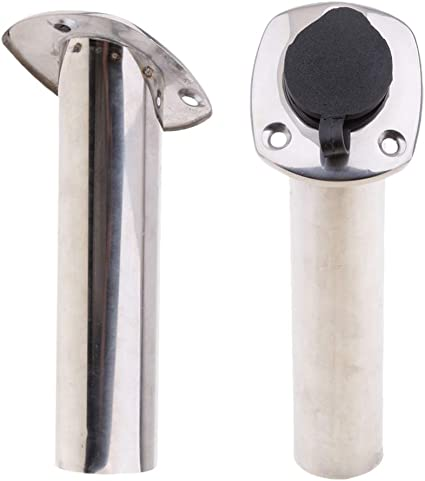 Heavy Duty Stainless Steel 316 Deluxe Rod Holders with Drain Flush Mount 30 Deg