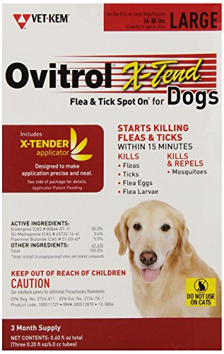 Vet-Kem Ovitrol 3-Pack X-Tend Pest Control Spot on for Dog, 56 to 80-Pound/Large