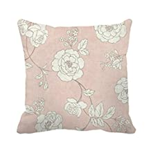 """DKISEE 18"""" x 18"""" Big White Flower Decorative Throw Pillow Case Cushion Cover"""
