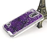 Aenmil® Stylish Samsung S5 Case, Luxury Design 3D Bling Flowing Colorful Glitter Stars Powder Dynamic Liquid Hard Case Transparent Clear Back Cover for Samsung Galaxy S5 i9600 (Purple)