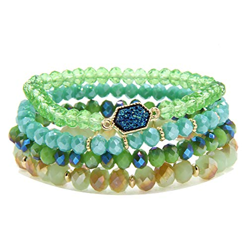 YUJIAXU Gold Beaded Bracelet Set, Square Stone Hexagon Druzy Stretch Beaded Stackable Bracelets Bangles Green ()