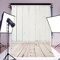 MOHOO 5X7ft 100% Polyster Photography Background White Wood Floor Photography Backdrop Washable For Photo Studio Props(Updated Color)1.5mx2.1m