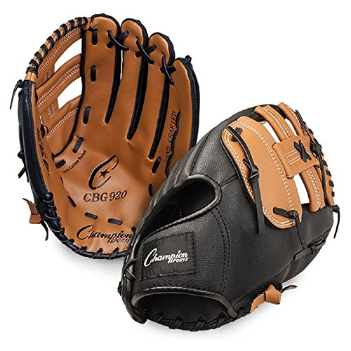 Champion Sports Leather Front Vinyl Back Fielder's Glove (Left-Handed, - Champion Baseball Leather