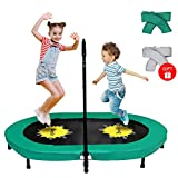 Doufit Trampoline for Kids with Adjustable Handle, TR-01 Double Jumping Fitness Rebounder Foldable Trampoline for Indoor and Outdoor Exercise with Additional Spring Cover