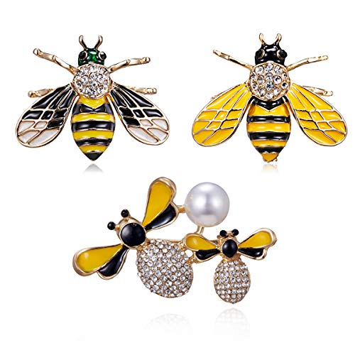 RINHOO Crystal Rhinestone Flower & Bowknot Brooch Pin Bee Olw Butterfly Brooch Pin Jewelry for Women Girls Gift (3pc-bee)