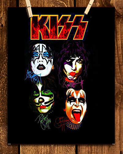 """""""Faces"""" Kiss Band- Autograph Poster Print-8 x 10"""" Wall Print-Ready to Frame. Legendary Rock Band- Signed Decor. Home-Office-Studio-Bar-Dorm-Man Cave Decor. Perfect Addition to Kiss Fan Collections."""