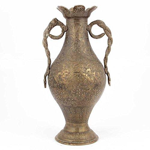 Indianshelf Handmade Brass Cobra Vases with Snake Handles Statues Decoration Designer Vintage Statement Pieces Online New