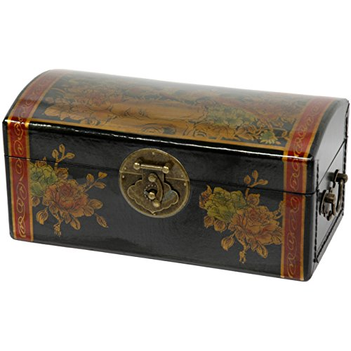 Oriental Furniture Black Lacquer Flowers Jewelry (Oriental Storage Box)