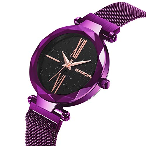 Shining Round Dial (Fashion Shining Round Dial Luxury Woman Girls Wrist Watch Quartz Movement Water Resistant Casual Watch Steel Wristband)