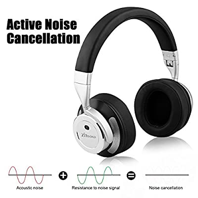 Active Noise Cancelling Bluetooth Over-Ear Headphones with Mic, Zinsoko Z-H01 Portable Wireless & Wired Hi-Fi Stereo Bass Headset with Hard Carrying Case for Air Travel, 16 Hrs Playing Time