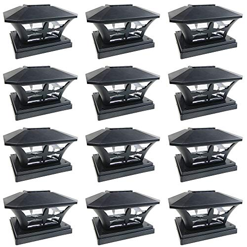 iGlow 12 Pack Black Outdoor Garden 6 x 6 Solar SMD LED Post Deck Cap Square Fence Light Landscape Lamp PVC Vinyl Wood ()