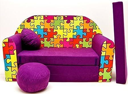 con Pouf//poggiapiedi//Cuscino 168/x 98/x 60/cm PRO COSMO in Tessuto Colore Viola Scuro Divano Letto M33/per Bambini