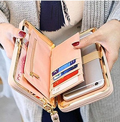 Women Bowknot Wallet Long Purse Phone Card Holder Clutch Large Capacity (Big Wallet)