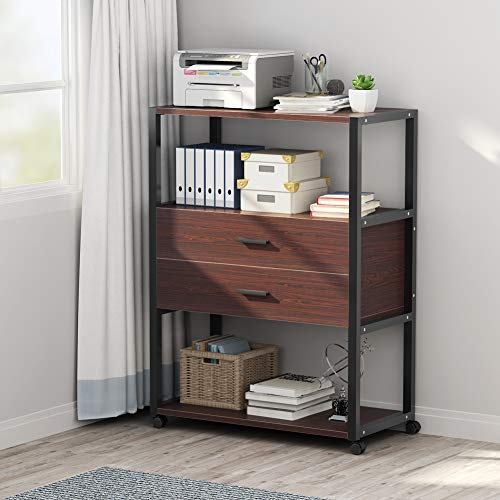 Mobile Printer Stand, Tribesigns Rolling Printer Cart with Wheels, 3-Tier Shelving Office Cabinet with 2-Drawers, Perfect for Home Office ()