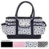 Everything Mary Grey Geometric Deluxe Store and Tote - Storage Craft Bag Organizer for Crafts, Sewing, Paper, Art, Desk, Canvas, Supplies Storage Organization with Handles for Travel