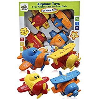 3 Bees & Me Airplane Toys - Set of 4 Toy Airplanes for Boys and Girls - Fun Toys for Toddlers & Kids