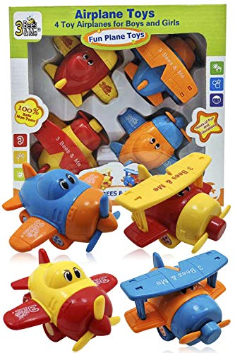 3 Bees & Me Airplane Toys – Set of 4 Toy Airplanes for Boys and Girls – Fun Toys for Toddlers & Kids