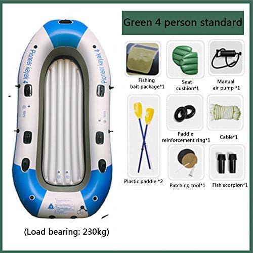 インフレータブルボート、漁船、パドルとハンドポンプ付き4人インフレータブルカヌー、白、300kgに耐える
