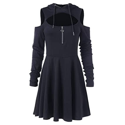 fd4988a433 Amazon.com: Tops,AIMTOPPY Women's Off-The-Shoulder Long-Sleeved Pleated  Large Hooded Dress Skirt: Computers & Accessories