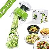 Handheld Spiralizer Vegetable Slicer, 4 in 1 Heavy Duty Veggie Spiral Cutter - Zoodle Pasta Spaghetti Maker