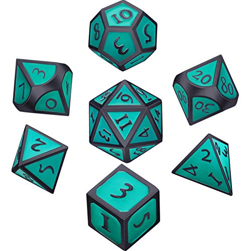 - Hestya 7 Pieces Metal Dices Set DND Game Polyhedral Solid Metal D&D Dice Set with Storage Bag and Zinc Alloy with Enamel for Role Playing Game Dungeons and Dragons (Black Edge Turquoise)