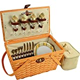 Picnic at Ascot 717H-H Settler Traditional American Style Picnic Basket with Service for 4, Olive Stripe