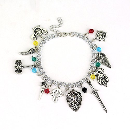 World of Warcraft 10 Themed Charms With Plastic Gems Metal Charm Bracelet