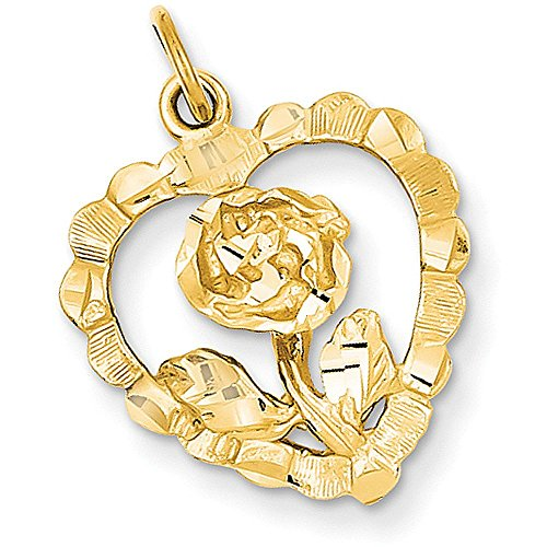 14k Gold Diamond-cut Open Heart Charm Pendant with Flower Rose Inside - (Yellow Gold, 0.88 Inch Height)