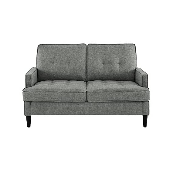 Dorel Living Marley Loveseat, Gray - Contemporary design Casual track Arm and tufting Easy-to-clean linen-look fabric - sofas-couches, living-room-furniture, living-room - 51XJsgLcIhL. SS570  -