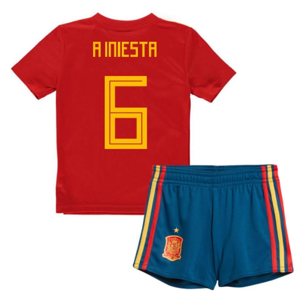 UKSoccershop 2018-19 Spain Home Mini Kit (Andres Iniesta 6)
