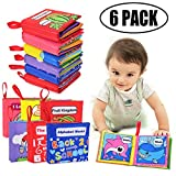 YCL Baby Cloth Book, 6 Packs Non-Toxic Fabric Soft Baby Book Educational Learning Toys Crinkle Book Touch and Feel Soft Activity Book for Babies Infants Toddlers and Kids