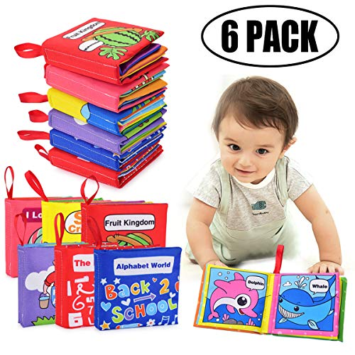 Cloth Books Baby Toy Gift Sets, 6 Packs Non-Toxic Fabric Soft Baby Book Educational Learning Toys Crinkle Book Touch and Feel Soft Activity Book for Babies Infants Toddlers and Kids