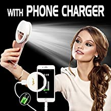 Selfie Light Rechargeable, Ring Light for Phone, Selfie Ring Light for iPhone, 1500Mah Power Bank 36 Led Light Clip on iPhone Samsung Galaxy iPad Photography Camera, White