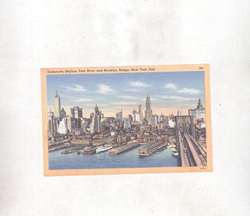 1930's Downtown Skyline East River Brooklyn Bridge NYC ORIGINAL - Nyc Downtown Brooklyn