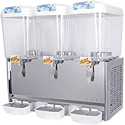 Commercial Juice/Beverage Dispenser, KUPPET 14.25 Gallon 3 Tanks Fruit Ice Tea Cold Drink with Spigot, Restaurant Buffet Food Service Catering Beverage Dispensers, Cold 380W
