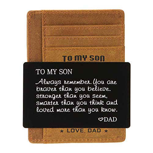 FAYERXL Minimalist Wallets Gift for son daughter from Mom Dad Slim Wallet RFID Front Pocket Wallet (Dad to my son)