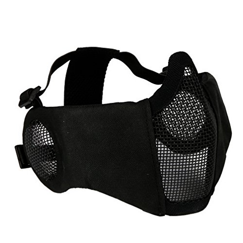 Face Guard Mesh Airsoft (Half Face Mask Lower Steel Mesh Mask with Ear Guard Protection For Airsoft Paintball BBs Shooting (Black))