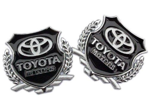 - pair Car 3d Logo Chrome Emblem Badge Sticker Self Adhesive Decal for toyota