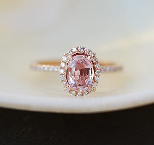 Amazon Peach sapphire rose gold engagement ring Peach Pink