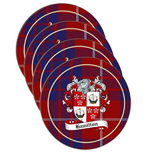 - Hamilton Scottish Clan Shield Round Drinks Coaster on Hamilton tartan background - SET OF FOUR