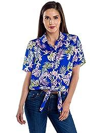 Women's Bright White Cactus Hawaiian Shirt for Summer - Tropical Tie Front Top Aloha Shirts