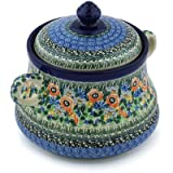 Polish Pottery Jar with Lid and Handles 9-inch Blue Violet Garden UNIKAT