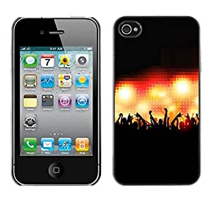 PC/Aluminum Funda Carcasa protectora para Apple Iphone 4 / 4S Concert Crowd People Hands Stage Lights / JUSTGO PHONE PROTECTOR