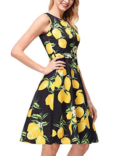 Vintage Womens Print Dress Scoop Black A Line Neck Sleeveless Floral Jaycargogo Mini Pleated qR5wdnU4q