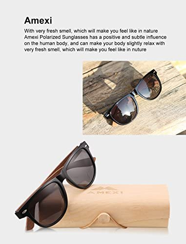 AMEXI Men and Women Polarized Wooden Sunglasses-men and Women are Equipped With replicate Polarized Lenses-Bamboo Sunglasses