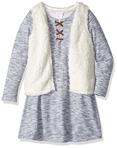 Youngland Girls' Little' Skater Dress with Sherpa Faux Fur Vest, Blue/Ivory, 5