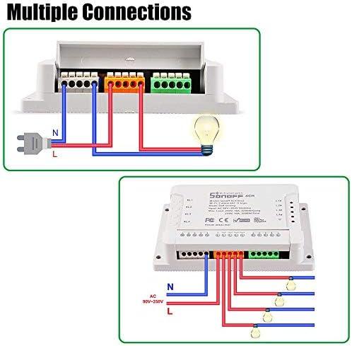 Interruptor Smart Switch WiFi para Sonoff 4CH R2 Receptor Inteligente 4 Canales Comando de Voz con Google Alexa APP eWeLink AC220V