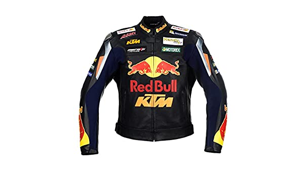 Chaqueta negra de cuero de carreras de motocicleta Red Bull ...
